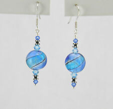 *IAJ* BLUE, AQUA HAND BLOWN GLASS STERLING SILVER Earrings w/SWAROVSKI CRYSTALS