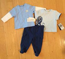 Sz 3-6m NWT Juicy Couture Baby Boy 3 Piece Pant Set Lion T-Shirt Footie Bottoms