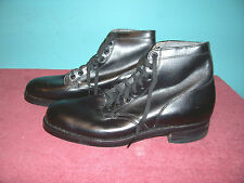 KOREAN WAR WOMEN'S 3/4 BLACK LEATHER FIELD SHOES SZ. 6 AAA (UNISSUED)