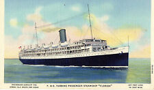 P. & O. Turbine Steamship Florida Most Popular Route to Cuba Postcard 1935