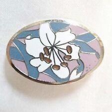 Vintage Pin/Brooch, Signed AGC White/Pink/Blue Cloisonne Enamel Flower