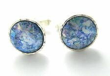 Amazing Hammered Roman Glass 925 Silver Cufflinks Best Quality