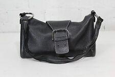 Authentic Tod's Women's Black Pebbled Leather Shoulder Baguette Bag