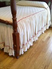Bedspread, Queen, High Bed, Cream w/Mauve Trim, Sateen, Quilted Top, Custom Made