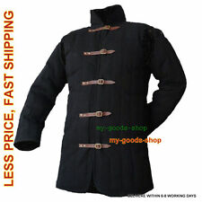 Medieval thick padded Black color Gambeson coat Aketon armor jacket SCA LARP