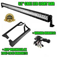 "52"" 300W LED Light Bar+Mounting Bracket Fit For Jeep Wrangler JK 2007-2015"