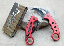 New Red Karambit Spring Assisted Folding Tactical Pocket Knife w/ Hawkbill Blade