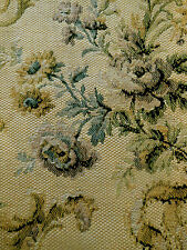 Antique French Roses Lilacs Ribbons Tapestry Fabric ~Blue Lavender Camel Mustard