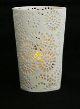Large White Tea Light candle holder wedding decor Sunflower Design 11cm tall