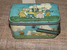 Antique Tin Litho Peter Rabbit Childs Toy Lunch Box or Easter Candy Tin TINDECO
