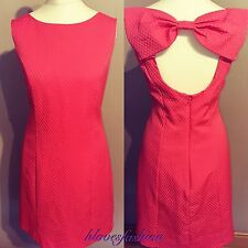MISS SELFRIDGE Coral Pink Bow Shift Dress Glamorous UK 14 EU 42 US 10 NEW+TAGS��