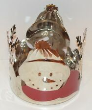 YANKEE CANDLE FESTIVE CHROME SNOWMAN RED SCARF JAR CANDLE HOLDER SLEEVE METAL