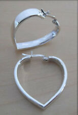925 Sterling Silver, Love Heart Shaped Hoop Earrings