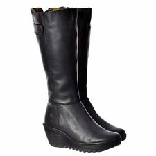Fly London YOA Knee High Leather Winter Boot Low Wedge Black Brown Navy Damani