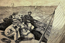Victorian Men and Women SAILING SAIL-BOAT OCEAN 1869 Antique Engraving Matted