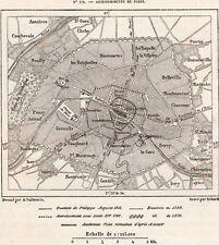 IMAGE 1877 PRINT CARTE MAP PARIS ACCROISSEMENTS