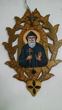 St.charbel icon, St. Sharbel icon/picture, Hand made wood, Catholic Monk