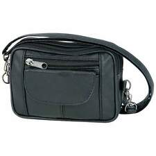 Small Black Compact Solid Leather Purse Shoulder Handbag Cross Body Strap Bag