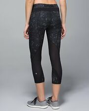 Lululemon Run Inspire Crops NEW 6 BLACK Star Crushed Coal Gray Tight Mesh Speed
