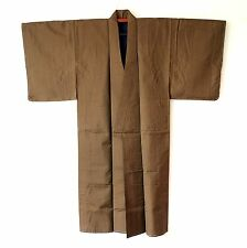 Japanese Kimono Men's Vintage Brown Check Traditional Robe G154