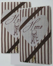 Home and Keys picture,chocolate ticking fabric covered Memo Board KeyHanger