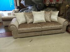 "BOOM STRAND GLITZ 3+2 seater sofa's CRUSHED VELVET""""mink Many colours available"