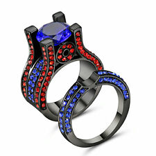 Blue Sapphire /Ruby Gemstone AAA Nice Black gold filled Ring Set Size 7 Gift