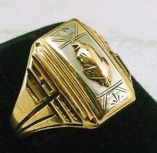 Antique Retro Solid 10K Gold Designer Men's Class Ring 5.7g Sz 8 1/2