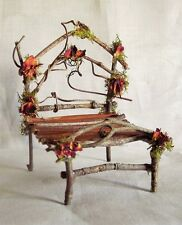 Fairy Garden Miniature Dollhouse TWIG Moss/Roses Furniture BED A Hand Crafted VT