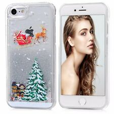 For iPhone 7 - HARD CASE Flowing Waterfall Liquid Glitter Stars Christmas Tree