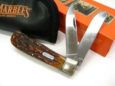 MARBLES Stag Bone JUMBO TRAPPER 2 Blade Folding Pocket Knife + POUCH Case! MR117