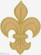 "Fluer-de-lys (Gold) Embroidered Patch 8cm x 6cm (3 1/4"" x 2 1/2"") Sew On/Iron On"