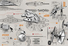 STAR WARS BLUEPRINTS Photo Wallpaper Wall Mural 368x254cm  Made in Germany!