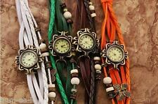 VINTAGE RETRO BEADED BRACELET LEATHER WOMEN WRIST WATCH - SET OF 4