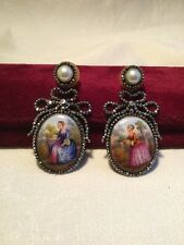 Rare Stunning Georgian Day to Night Earrings ~ HP Plaques CUT STEEL Bows Pearls