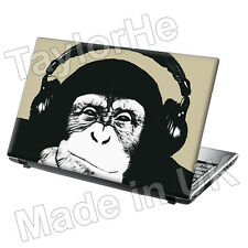 "15,6 ""Laptop Skin Sticker Decal Auriculares chimpancé Funny Clásico 303"