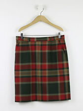 The House Of Bruar Womens Deep Red Plaid Tailored Skirt Size 12