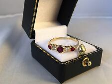 LOVELY 18ct Yellow Gold Ruby and Diamond Half Eternity Ring SIZE Q