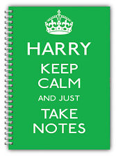 A5 PERSONALISED NOTEBOOK / KEEP CALM & TAKE NOTES / LINED PAPER/ GREEN