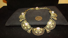Vintage JULIANA Etruscan Opal Cabochon Seeded Pearl couture Necklace estate