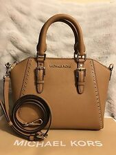 NWT MICHAEL KORS SAFFIANO LEATHER CIARA GROMMET MEDIUM MESSENGER BAG IN ACORN
