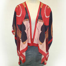 NEW NWT Cocoon House Red Umbrellas 100% Silk Kimono Blouse Large/XL fits 1X, 2X