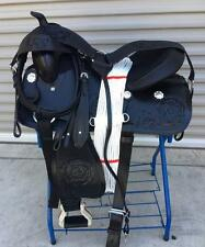"16""  New Hand Curved Black Leather Western Pleasure Trail Horse Saddle PKG"