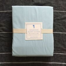 New  Pottery barn kids Gingham  Queen duvet cover light Blue White