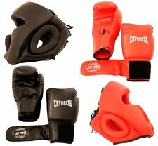 Set 2 Pairs Professional Boxing Gloves 16oz Sparring - 2 Headgears - [S103]