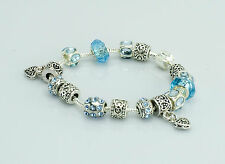 Blue Bracelet with Charms - Murano Glass Beads