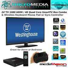 "24""TV Media Center Combo -4K Quad Core SmartTV Box WiFi 3D Miracast XMBC DNLA"