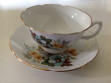 Royal Grafton Tea Cup Saucer Fine Bone England Blue Daisy Footed Scalloped
