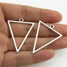 20994 30pcs Antique Silver Findings Alloy Charms Smooth 35mm Triangle Pendant