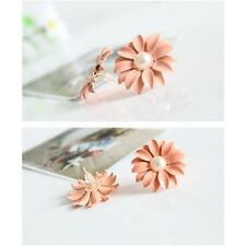 Ohrstecker Blumen rosa Fashion pink Flower Ohrringe Perle weiß Statement Style